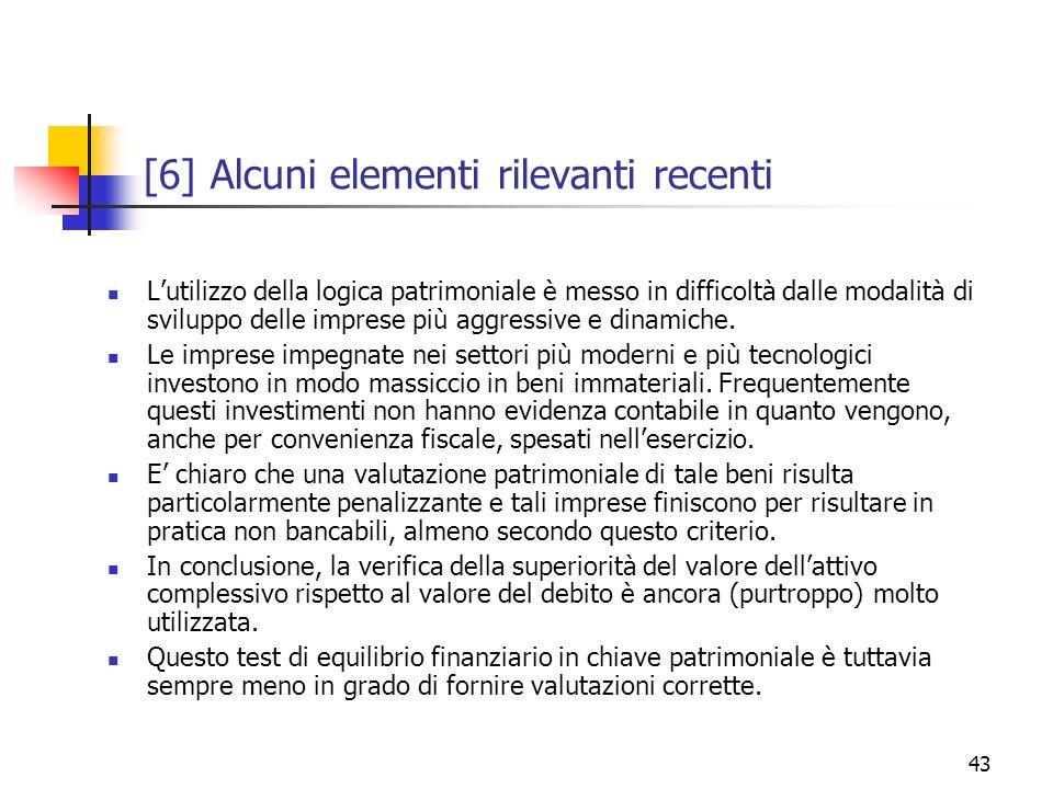 [6] Alcuni elementi rilevanti recenti